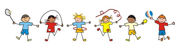 sporting-children-group-sports-icons-tennis-gymnastics-volleyball-comical-illustration-55135927