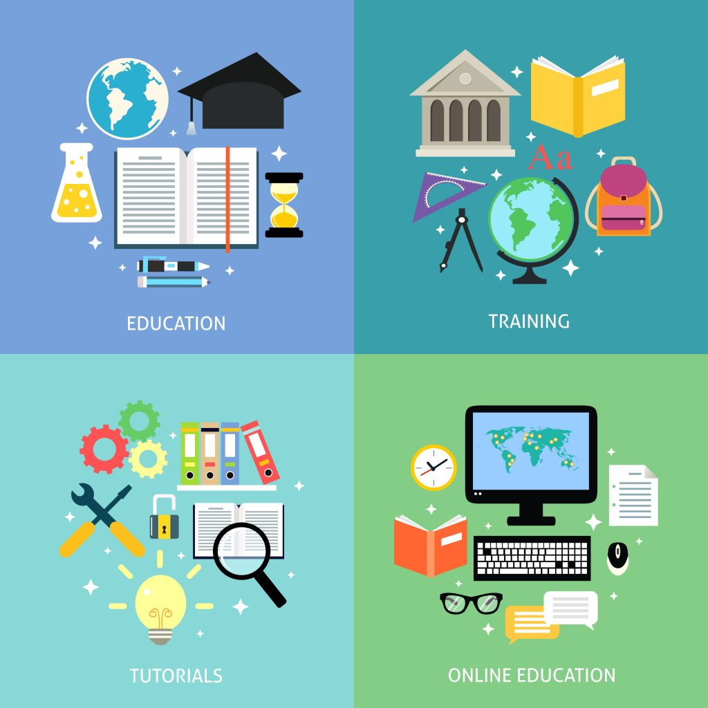 Business education concept training tutorial reading discussion online flat icons set isolated vector illustration